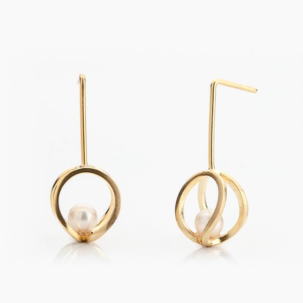 Elegantní náušnice s perličkou pozlacené ryzím zlatem