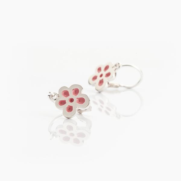 Stříbrné náušnice květ s růžovým smaltem